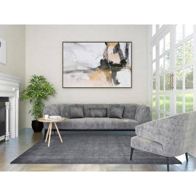 Wellington Contemporary Solid Charcoal 9 ft. x 12 ft. Hand-Knotted Area Rug