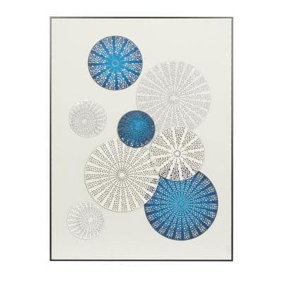 Blue White Contemporary Canvas Wall Art, 40 in. x 30 in.