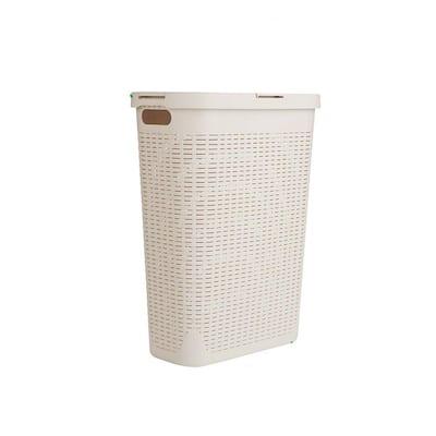40 Liter Ivory Plastic Laundry Basket Hamper with Cutout Handles