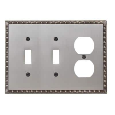Antiquity 3 Gang 2-Toggle and 1-Duplex Metal Wall Plate - Antique Nickel
