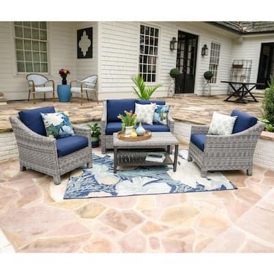 Marietta 4-Piece Wicker Patio Conversation Set with Navy Cushions