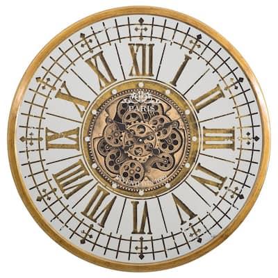 Golden Gears Antique Gold Wall Clock
