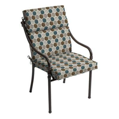 21.5 in. x 24 in. Charleston Hex Outdoor High Back Dining Chair Cushion (2-Pack)