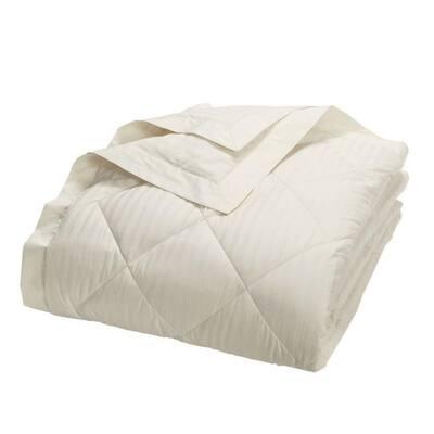 Legends Damask Stripe Down Ivory Full Blanket
