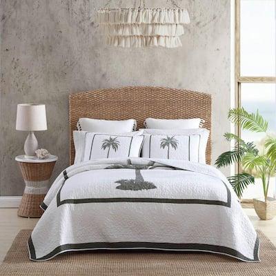 Palm Island 1-Piece Gray Cotton King Quilt