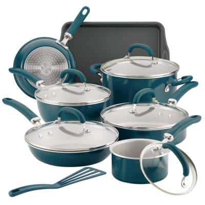 Create Delicious 13-Piece Aluminum Nonstick Cookware Set in Teal Shimmer