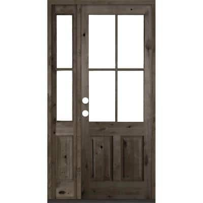 50 in. x 96 in. Knotty Alder Right-Hand/Inswing 4-Lite Clear Glass Black Stain Wood Prehung Front Door