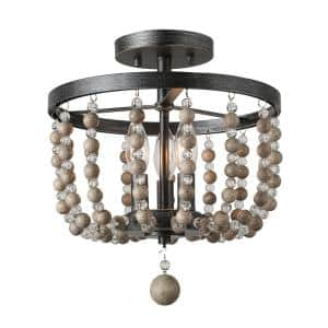 12 in. 3-Light Brushed Black Rustic Farmhouse Wood Beads Semi-Flush Mount Light with Clear Globe Crystal