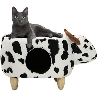 Black and White Cow Animal Shape Ottoman