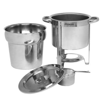 6.2 Qt. Round Stainless Steel Soup Warmer Chafing Dish Dishes with Stand