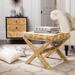 Palmer Maize and Beige Accent Ottoman