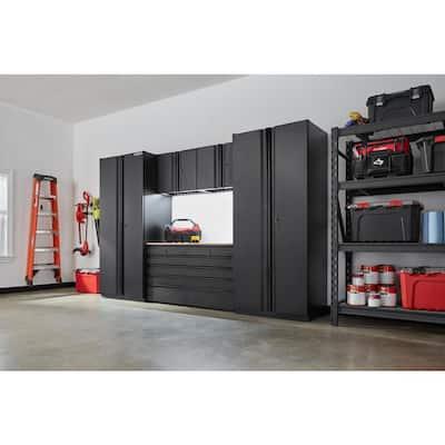 6-Piece Heavy Duty Welded Steel Garage Storage System in Black (128 in. W x 81 in. H x 24 in. D)