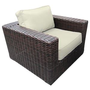 Santa Monica Wicker Outdoor Club Lounge Chair with Sunbrella Natural Cushions