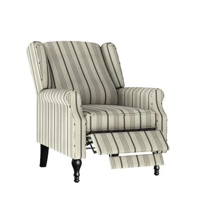 Farmhouse Woven Black Stripe Wingback Push Back Recliner Chair