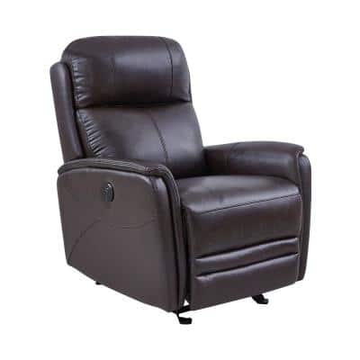 Wolfe Dark Brown Genuine Leather Contemporary Recliner