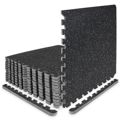 Rubber Top Thick Exercise Puzzle Mat Grey 24 in. x 24 in. x 0.75 in. EVA Foam Interlocking Tiles (12-Pack (48 sq. ft.)