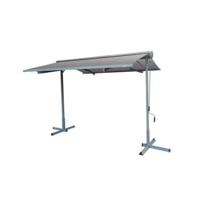 14 ft. FS Series Free Standing Semi-Cassette Manual Retractable Patio Awning in Canvas Gray