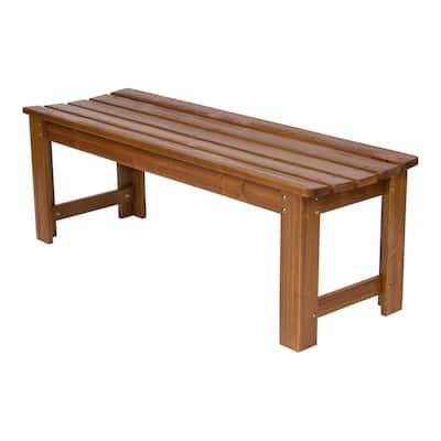 Backless 48 in. Oak Wood Outdoor Bench
