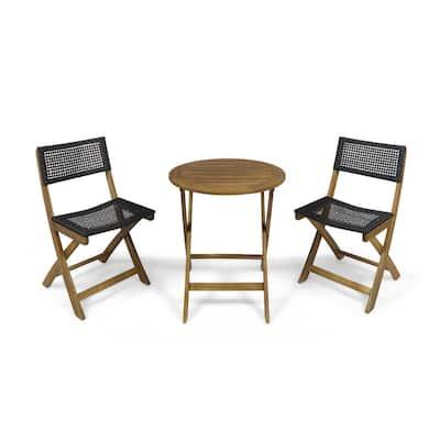 Hillside Teak Brown 3-Piece Wood and Wicker Round Outdoor Bistro Set