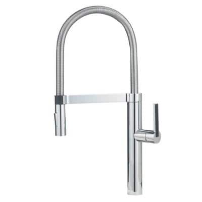 CULINA Semi-Pro Single-Handle Pull-Down Sprayer Kitchen Faucet in Polished Chrome