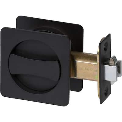 Contemporary Square Black Bed, Bath Privacy Sliding Pocket Door Lock