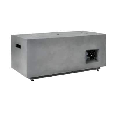 42 in. x 20 in. Rectangular Steel Fire Pit Concrete with Decorative Concrete