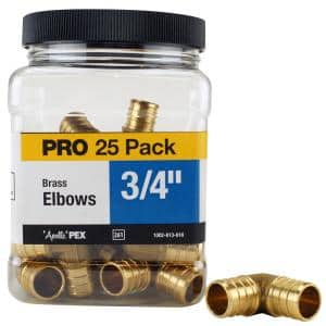3/4 in. Brass PEX Barb 90 Elbow Pro Pack (25-Pack)