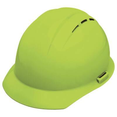 Vent 4 Point Nylon Suspension Slide-Lock Cap Hard Hat in Hi Viz Lime