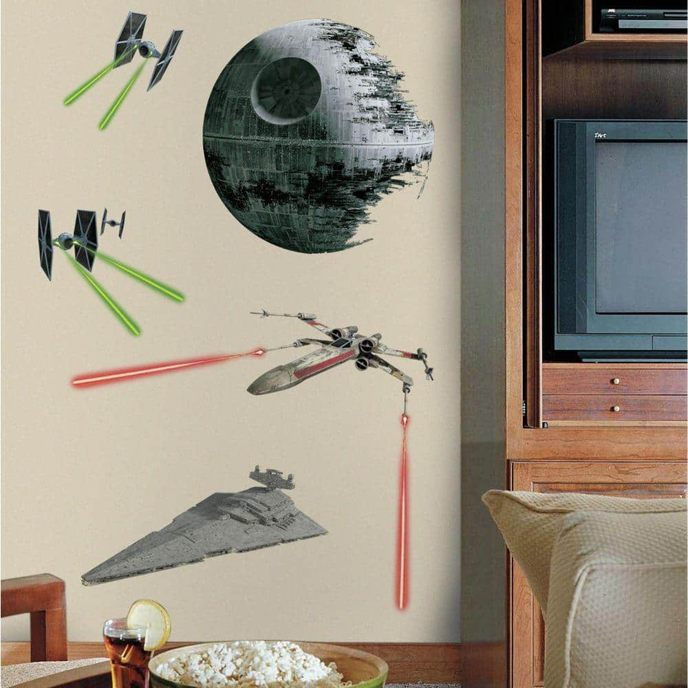 Roommates 5 In W X 19 In H Star Wars Classic Ships 17 Piece Peel And Stick Giant Wall Decal Rmk3076gm The Home Depot