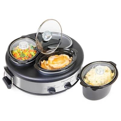 Triple 1.5 qt. Stainless Steel Slow Cooker Buffet