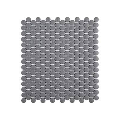 Thunderhead Gray 11.375 in. x 12.25 in. Penny Round Matte Porcelain Wall and Floor Mosaic Tile (0.967 sq. ft./Each)
