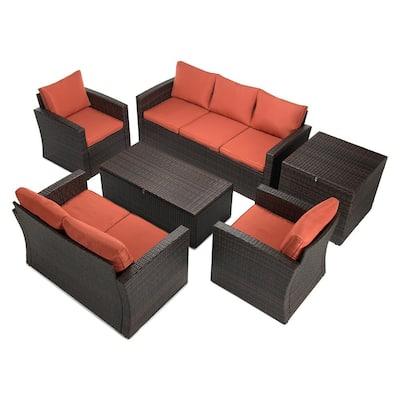 6-Piece Wicker Patio Conversation Set with Orange Cushions