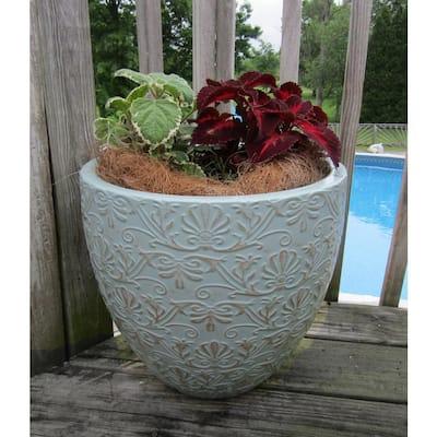 Fairfield 12 in. W x 10.4 in. H Jadeite Patina Resin Decorative Planter