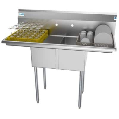 48 in. Freestanding Stainless Steel 2 Compartments Commercial Sink with Drainboard