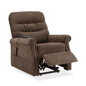 31 in. Width Big and Tall Brown Fabric Remote Control Lift Recliner