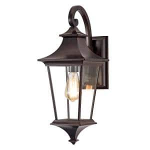 1-Light Tannery Bronze Die-cast Aluminum Outdoor Wall Lantern with Clear Glass