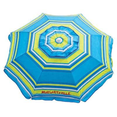 6 ft. 20 Panel Market Beach Umbrella in Multi-Color with Integrated Sand Anchor
