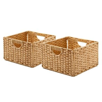 13.25 in. D x 13.25 in. W x 8 in. H Natural Plastic Handwoven Wicker Foldable Cube Storage 2-Pack Closet System Basket