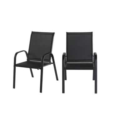 Mix and Match Black Steel Sling Outdoor Patio Dining Chair in Black (2-Pack)