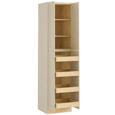 Nashville Cream Painted Plywood Shaker Stock Assembled Pantry Kitchen Cabinet 4 ROTs Doors (24 in. x 90 in. x 24 in.)