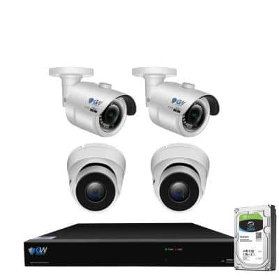 8-Channel 8MP 2TB NVR Smart Security Camera System with 4 Wired Turret and 4 Bullet Cameras 3.6 mm Fixed Lens AI, Mic