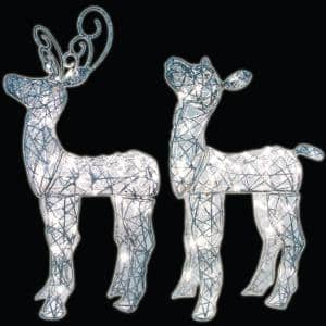 2 Count 24 in. and 28in. 50-Light LED Baby Deer Woven Glitter Wireframe