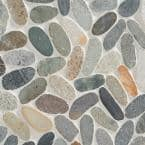 Countryside Sliced Flat Oval 11.81 in. x 11.81 in. Dark Blend Floor and Wall Mosaic (0.97 sq. ft. / sheet)