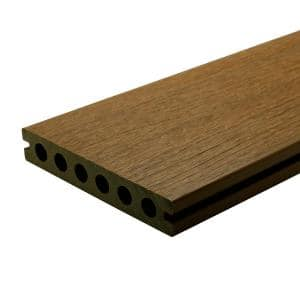 UltraShield Naturale Voyager Series 1 in. x 6 in. x 16 ft. Peruvian Teak Hollow Composite Decking Board (10-pack)