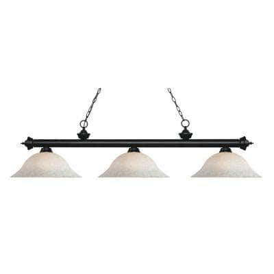May 3-Light Matte Black Island Light with White Mottle Glass Shades