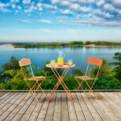Indoor/Outdoor 3-Piece Bistro Set Folding Table and Chairs Patio Seating, Orange