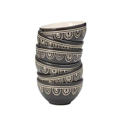 10 oz. Grey Tribal Stoneware Bowl (Set of 6)