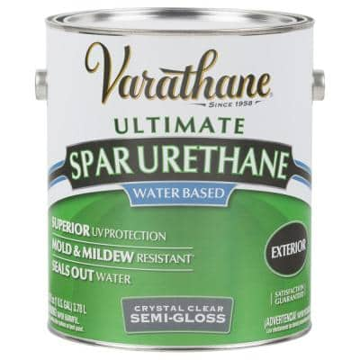 1 gal. Clear Semi-Gloss Water-Based Exterior Spar Urethane (2-Pack)