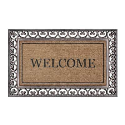 A1HC Welcome Classic Paisley Border Extra Large Brown/Beige 30 in. x 48 in. Rubber & Coir Heavy Duty Double Doormat