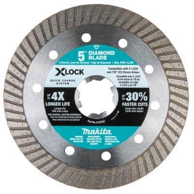 X-LOCK 5 In. X-Lock Turbo Rim Diamond Blade for Masonry Cutting